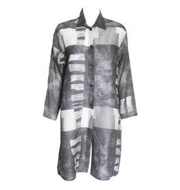 Xiaoyan Xiaoyan Linen Collared Tunic - Concrete Print