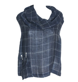 Crea Concept Crea Concept Sleeveless Cowl Neck Top - Navy Plaid