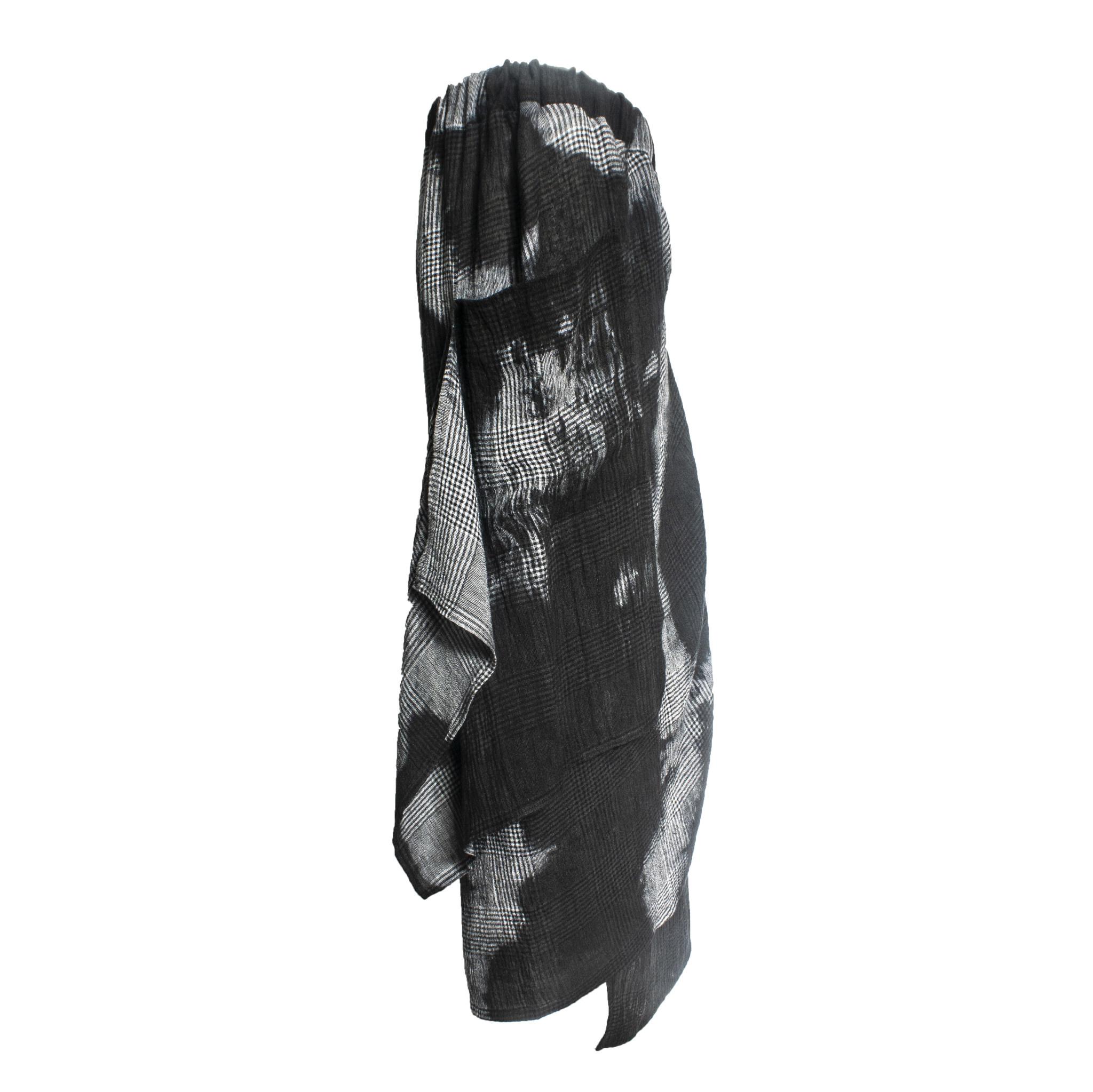 Kedziorek Kedziorek Plaid Dye Drape Skirt - Grey/Black