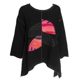 Xiao Xiao Autumn Patchwork Tee - Black/Pink