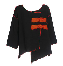 Xiao Xiao Carly Bow Top - Black/Red