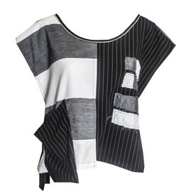 Xiao Xiao Niki Stripe Vest - Black/Grey