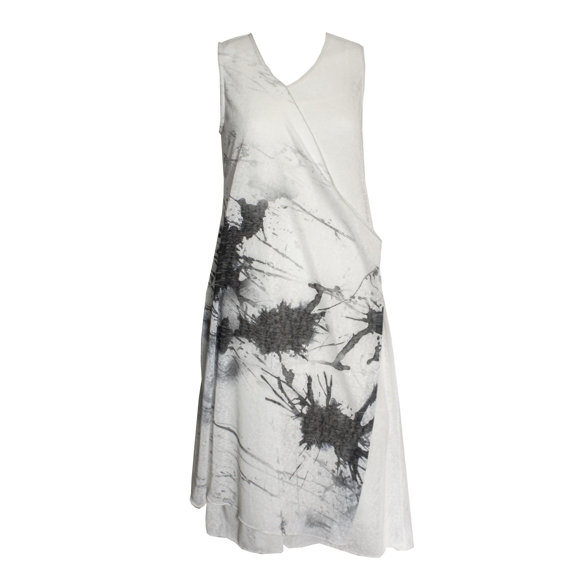 Ingrid Munt Ingrid Munt Canvas Print Sleeveless Dress - White