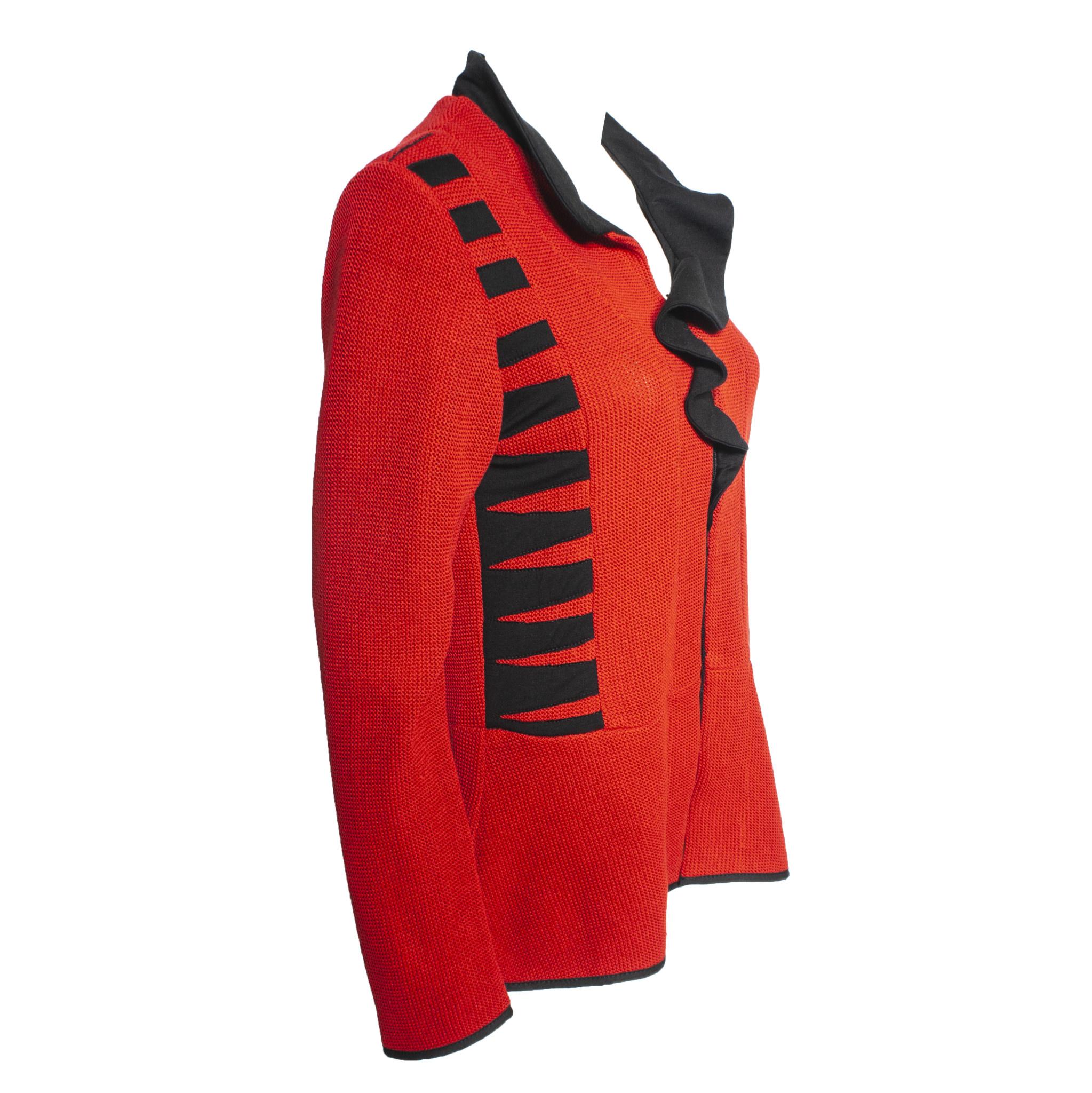 Jaskar Jaskar Ruffle Collar Jacket - Red