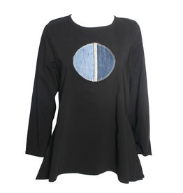 Ela Ela Denim Dot Top - Black/Denim