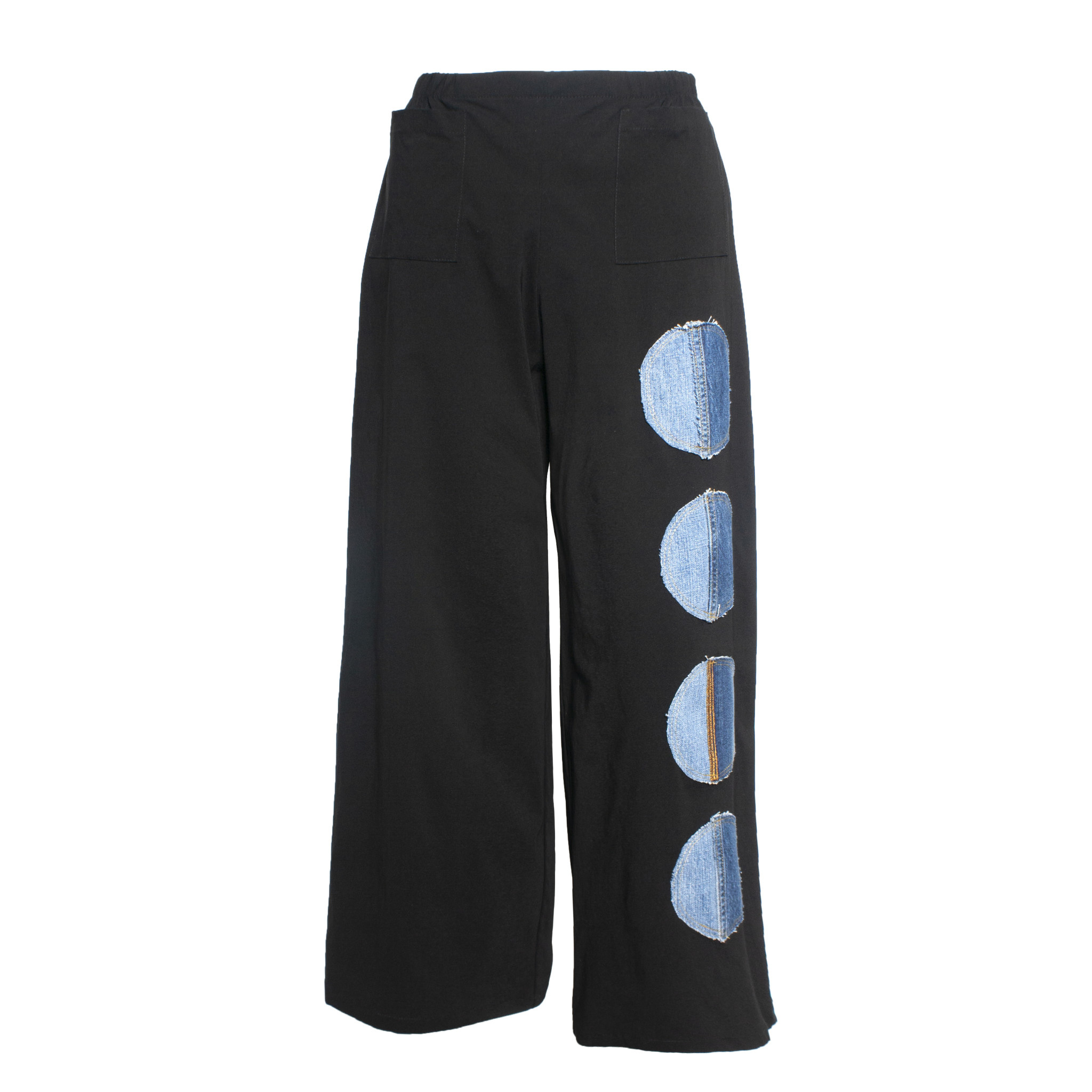 Ela Ela Denim Dot Pants - Black/Denim