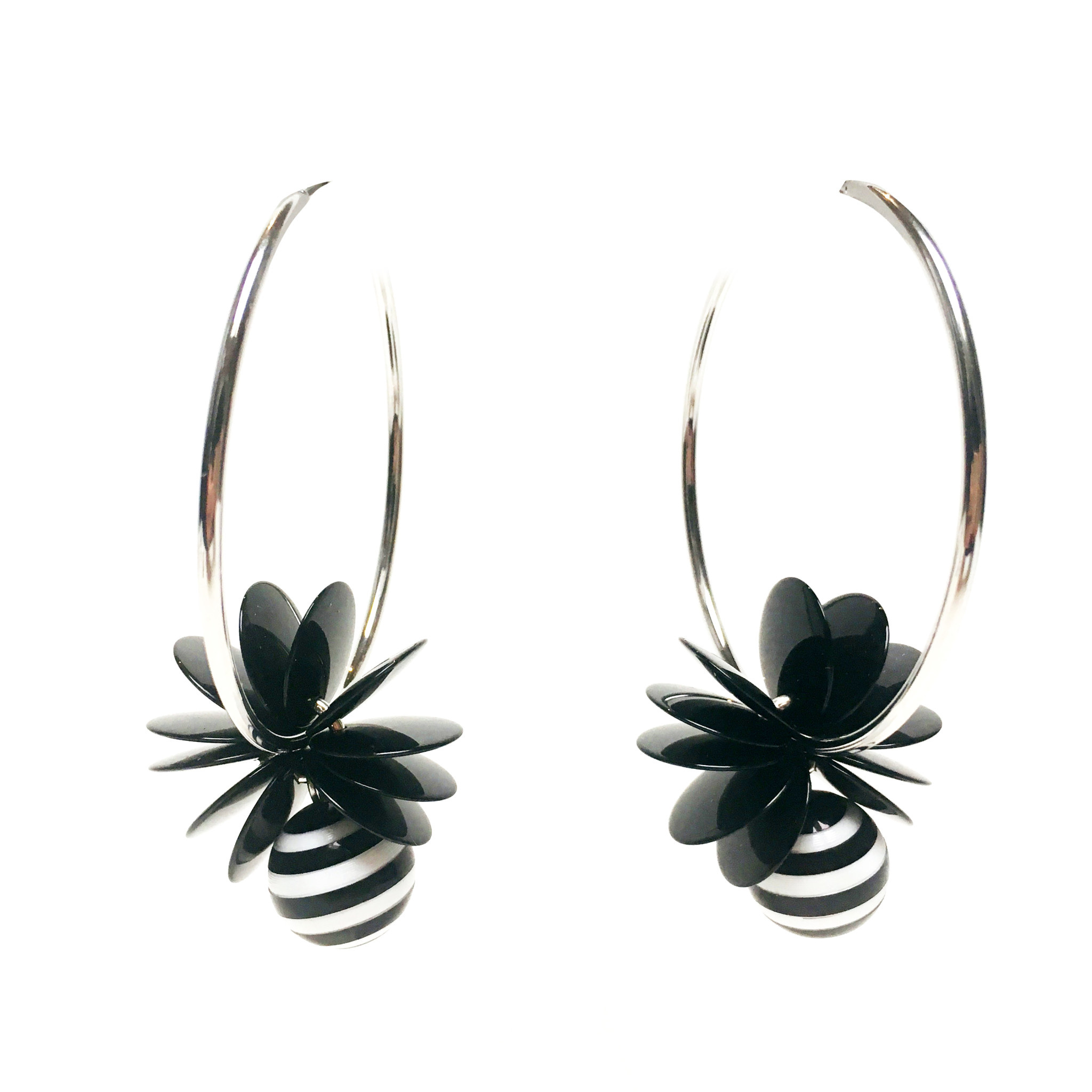 Antura Antura Hoop Stripe Earrings