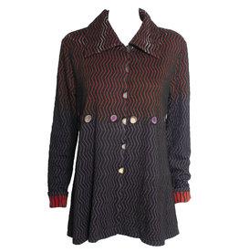 Deborah Cross Deborah Cross Zig Zag Shirt - Black/Multi