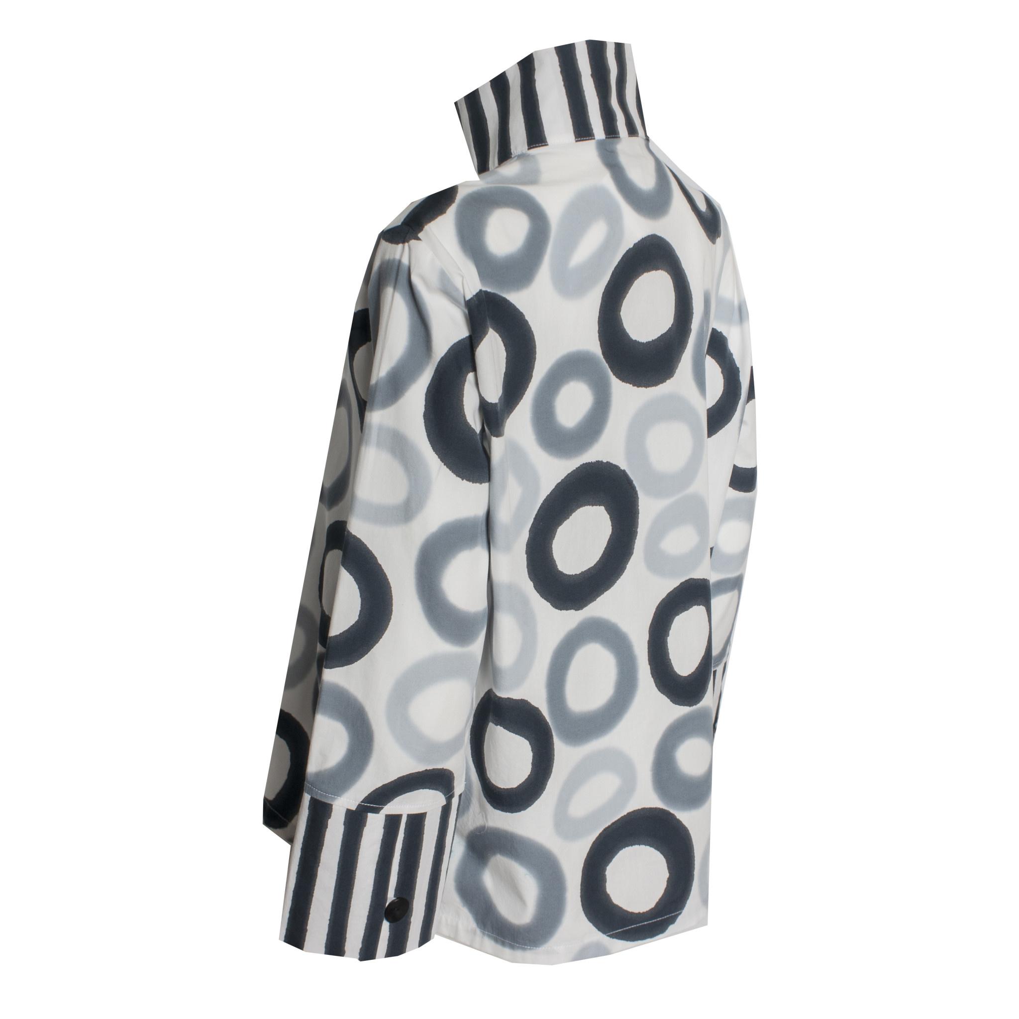 Kay Chapman Designs Kay Chapman Loop Button Cotton Jacket - Black/White/Grey