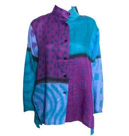 Kay Chapman Designs Kay Chapman Issey Linen Patchwork- Purple/Turquoise
