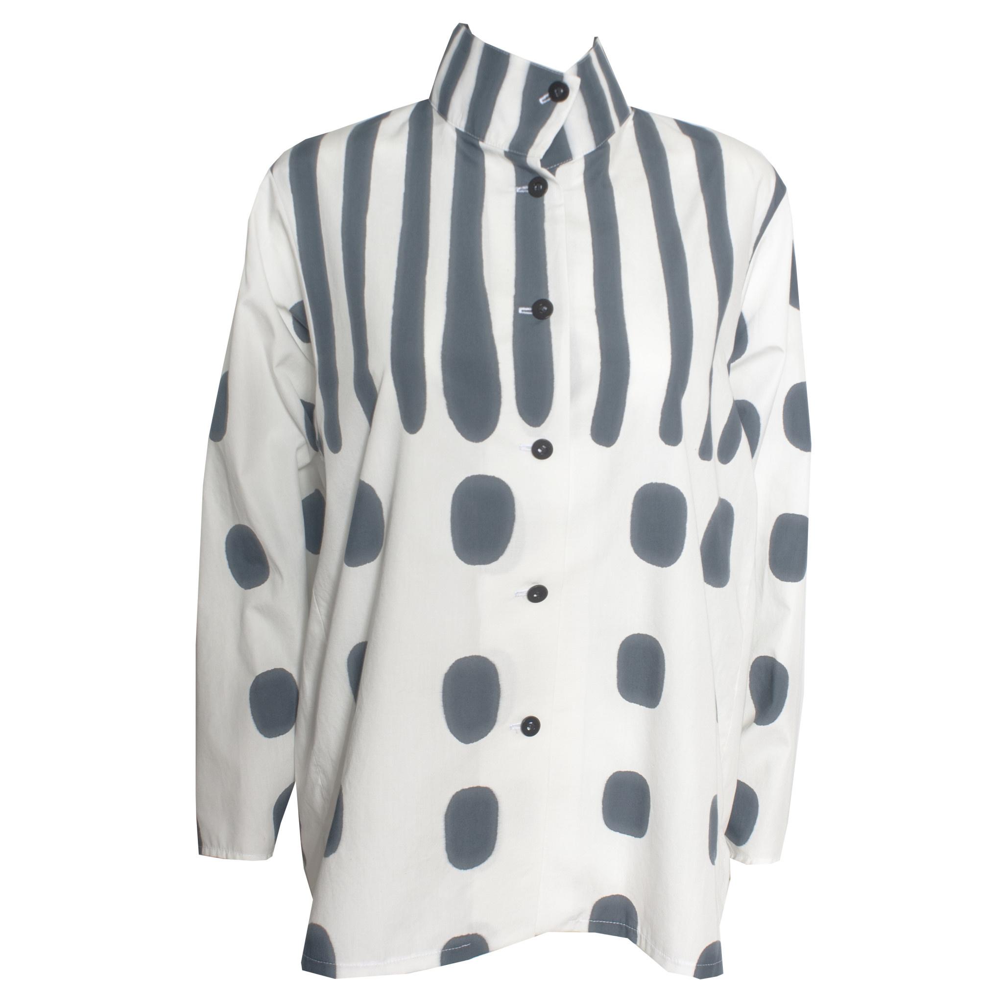 Kay Chapman Designs Kay Chapman Issey Cotton Jacket - White/Charcoal