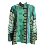 Kay Chapman Designs Kay Chapman Pleated Jacket - Turquoise/Aqua/Olive