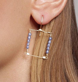 Meghan Patrice Riley Meghan Patrice Riley Medium Square Hooks with Stones Earrings