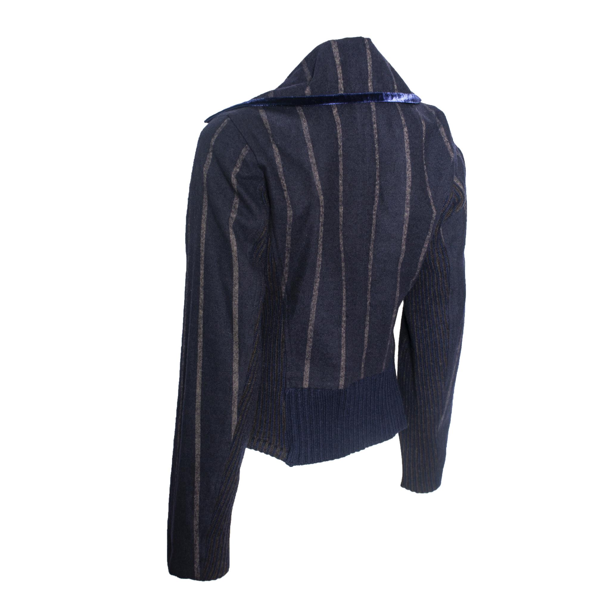 Yoshi Yoshi Yoshi Yoshi Stripe Zip Jacket - Navy