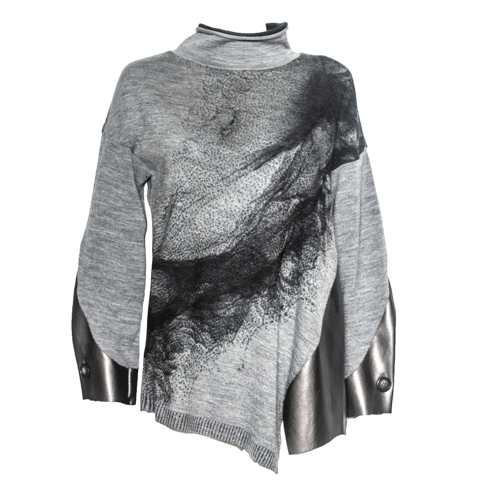 Yoshi Yoshi Yoshi Yoshi Pullover with Synthetic Leather - Grey/Black