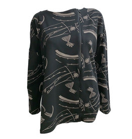Matthildur Matthildur French Terry Zip Top - Black Print