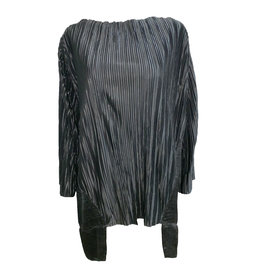 Matthildur Matthildur Satin Pleat Top - Black