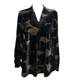 Alembika Alembika V Neck Long Sleeve - Toffee Print