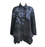Dress to Kill Leaf Print Collar Top - Blue