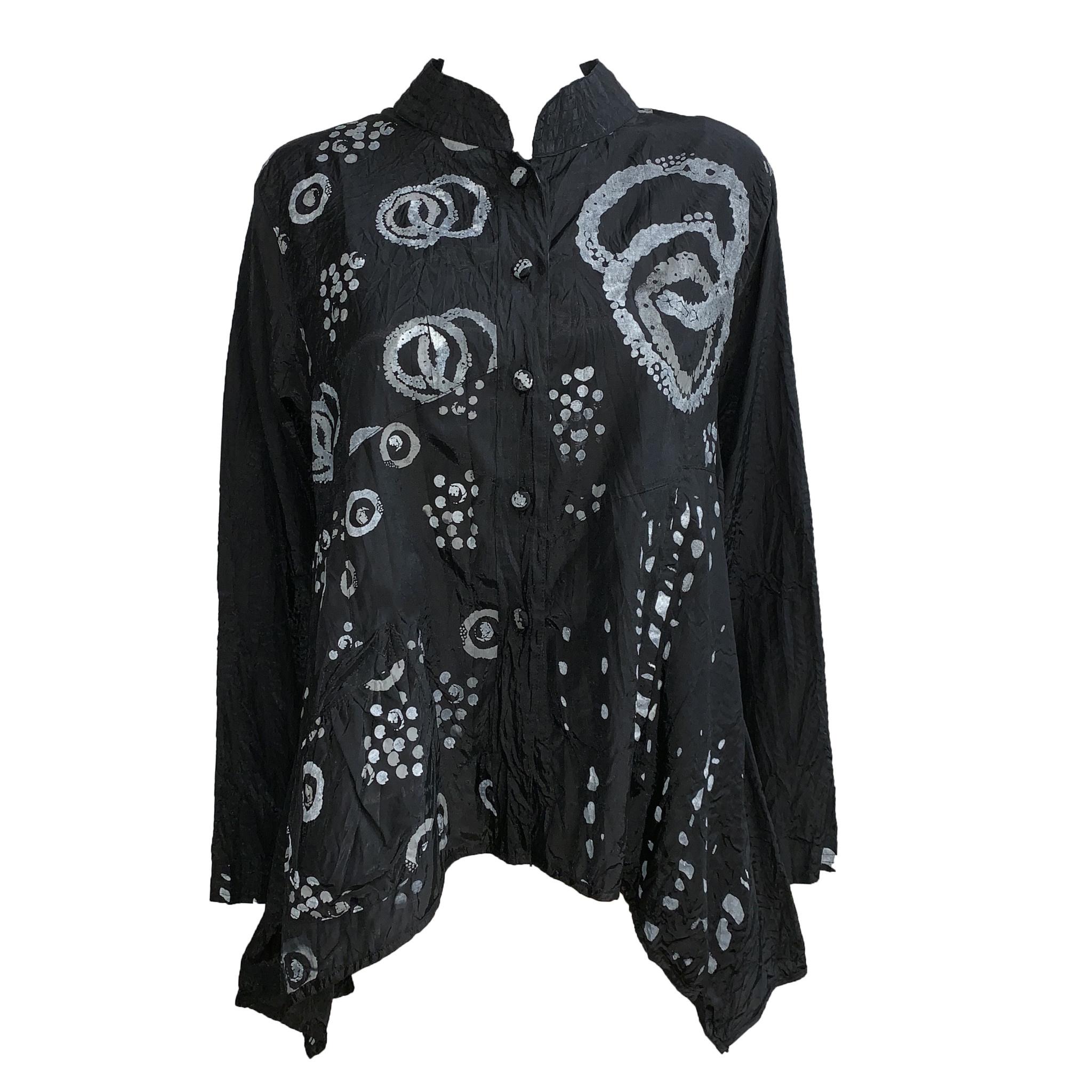 Harubella Harubella Mandarin Hi-Low Jacket - Black Print