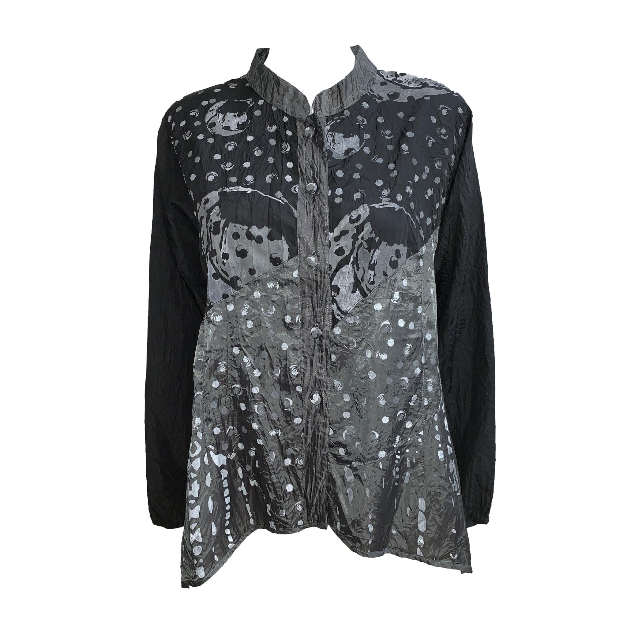 Harubella Harubella Short Mandarin Buttoned Jacket - Black Print