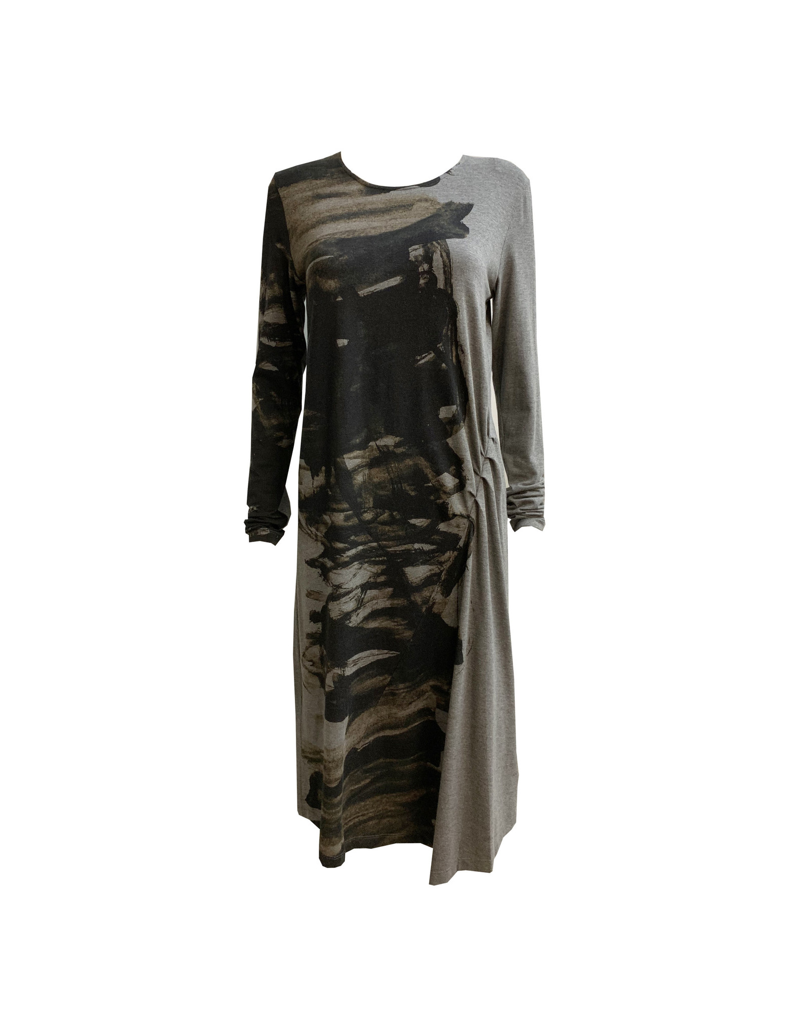Crea Concept Crea Concept Ruched Printed Dress - Grey
