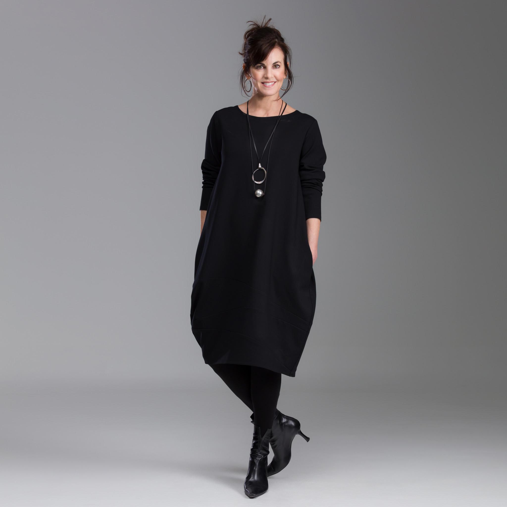 Fat Hat Fat Hat Spiral Dress-Black
