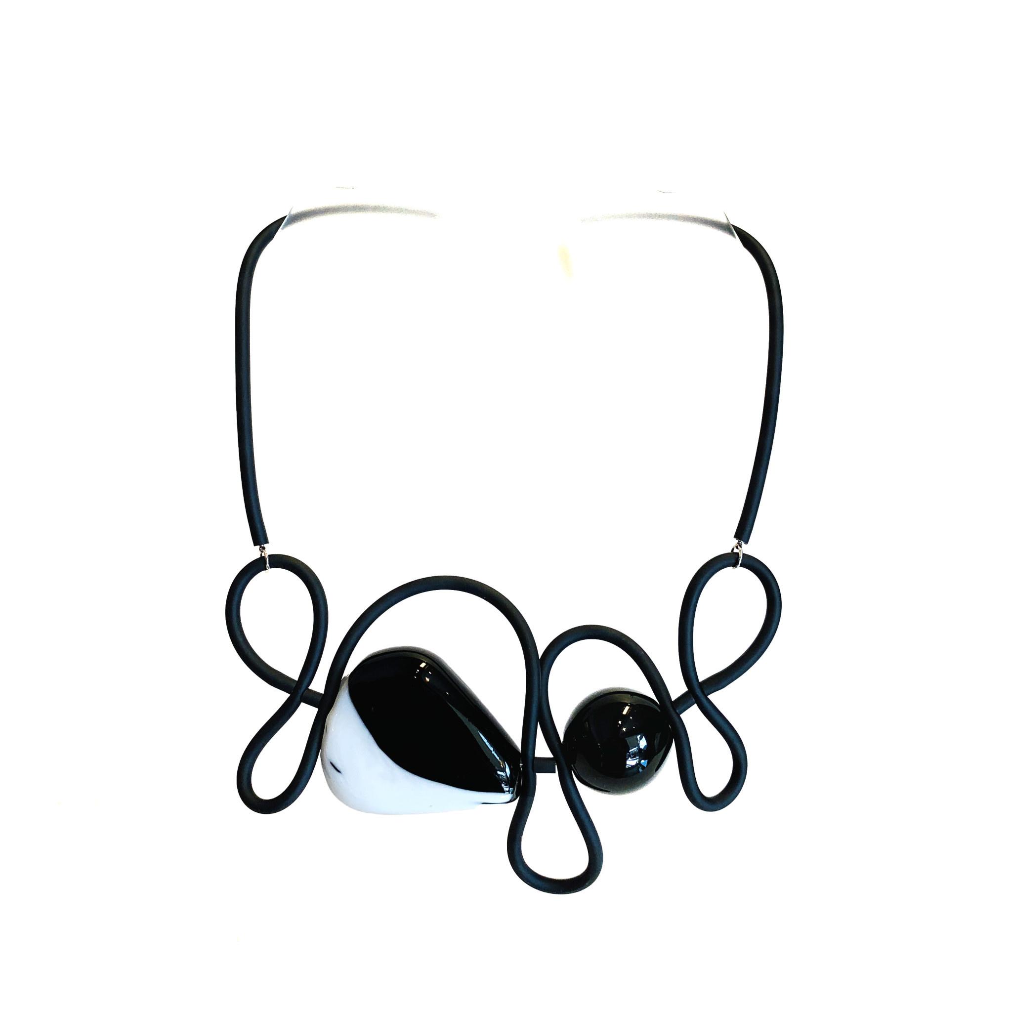 Samuel Coraux Paris Samuel Coraux Rubber Necklace with Murano Elements
