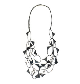 Escape From Paris Escape From Paris Leather Triangles with Pearls Necklace