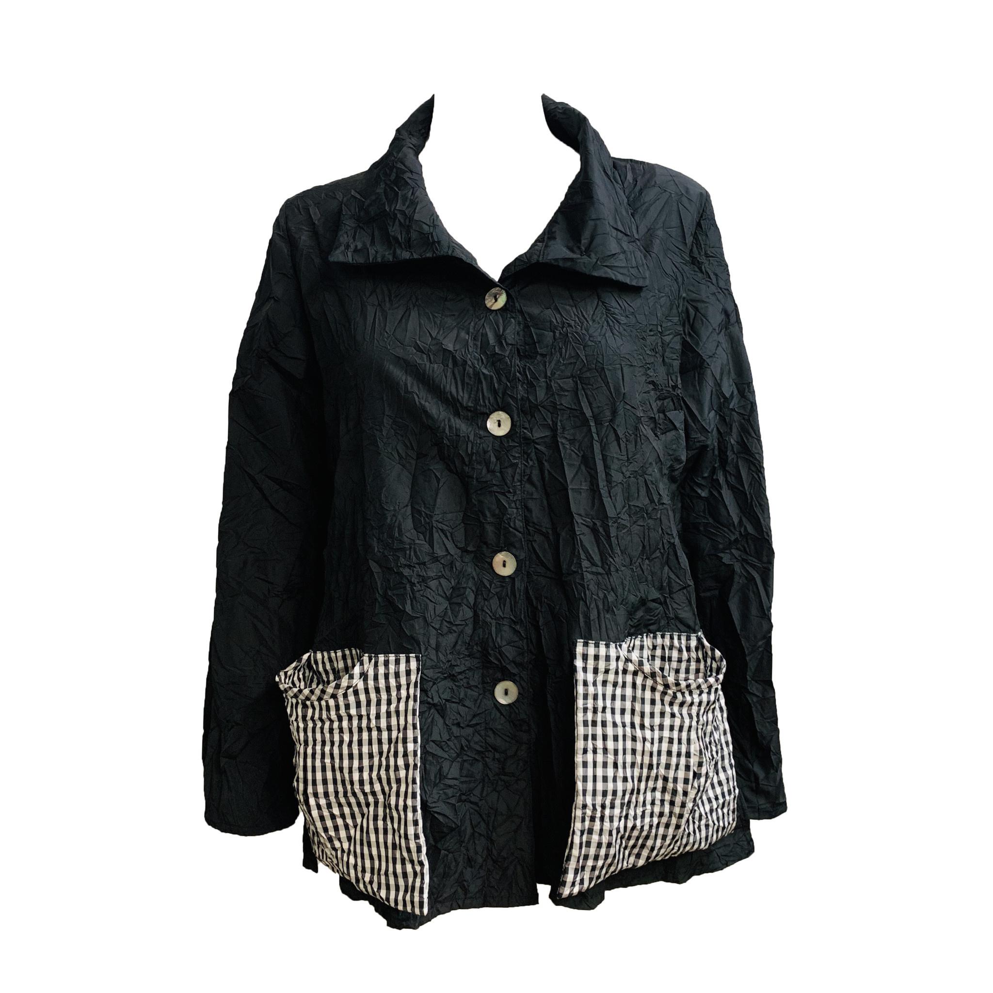 Ela Ela Check Pocket Jacket -Black