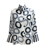 Kay Chapman Designs Kay Chapman Loop Button Jacket - White/Grey/Black