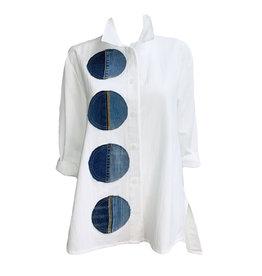 Ela Ela Denim Circle Shirt-White