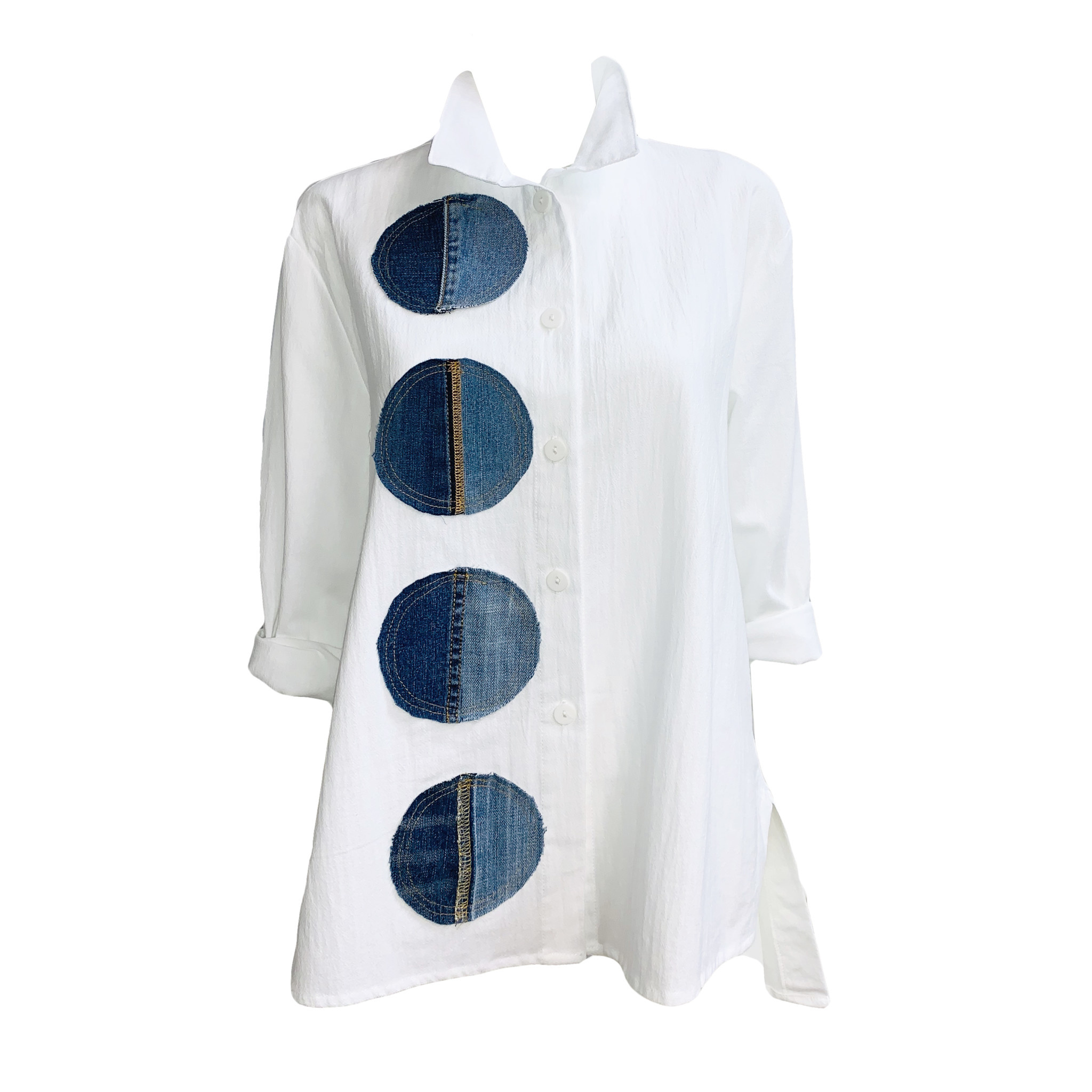Ela Ela Denim Circle Shirt-White