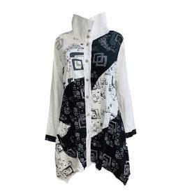 Harubella Harubella Buttoned Hi Wide Collar - Black/White