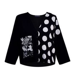Alembika Alembika Cropped Mixed Media Cardigan-Black