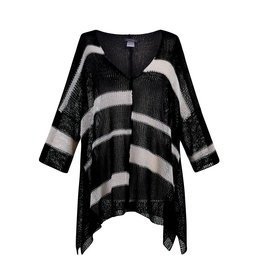 Alembika Alembika V-Neck Multi Stripe Sweater-Black