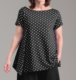 Fat Hat Fat Hat Boat Neck Tee - Black Dot