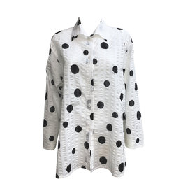 Xiaoyan Xiaoyan Black Dot Shirt-White