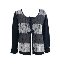 Crea Concept Crea Concept 2 Button Cardigan-Black/Grey/White