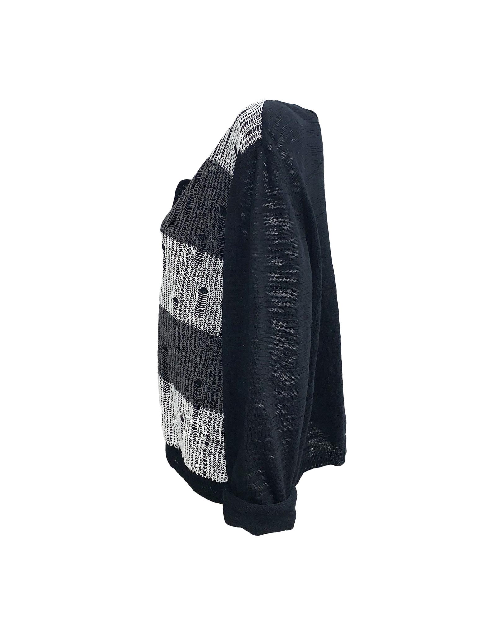 Crea Concept Crea Concept 2 Button Cardigan-Black/Grey/White