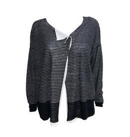 Crea Concept Crea Concept Stripe Cardigan-Black/White