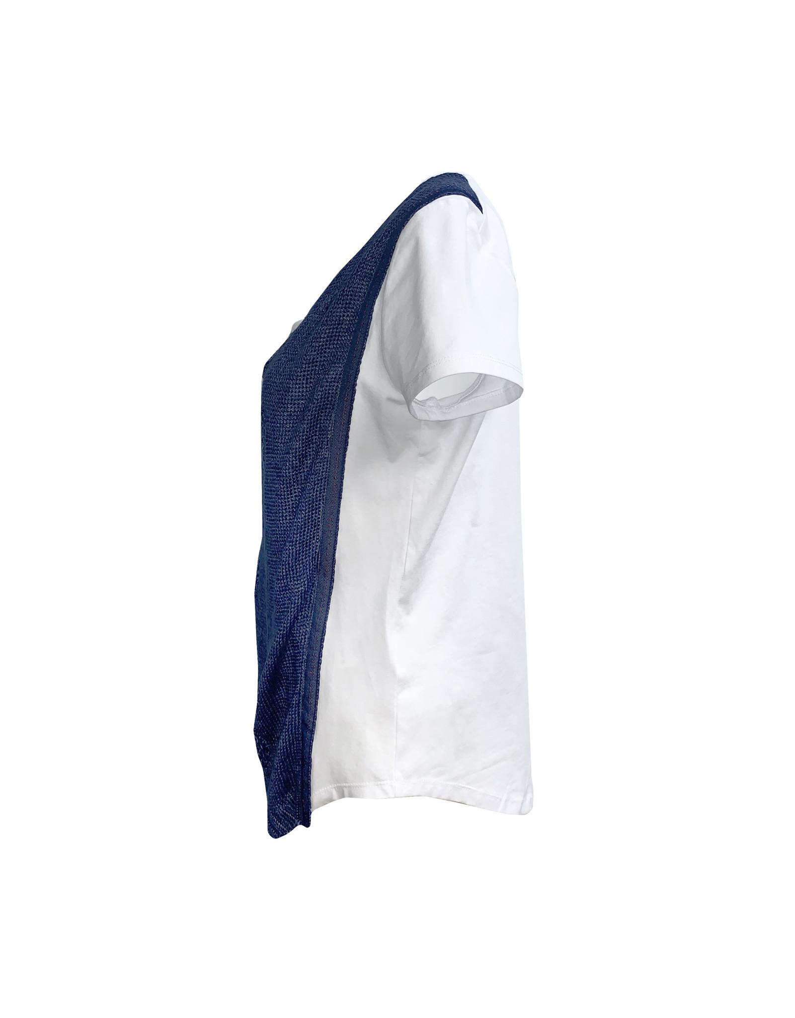 Crea Concept Crea Concept Tee with Knit-White/Blue