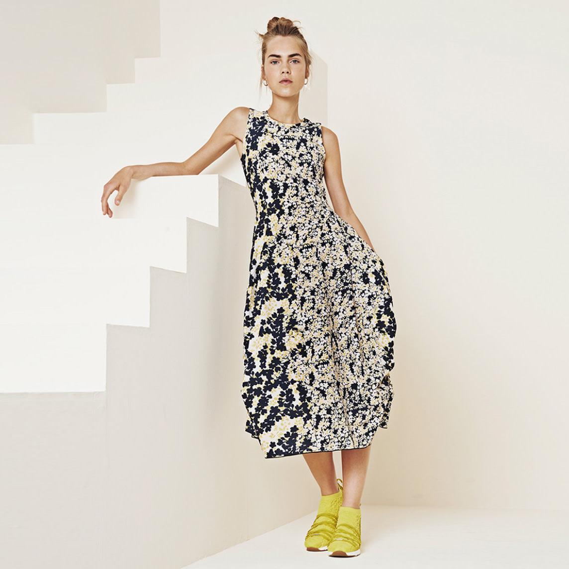 HIGH HIGH At-Length Dress - Navy/Yellow