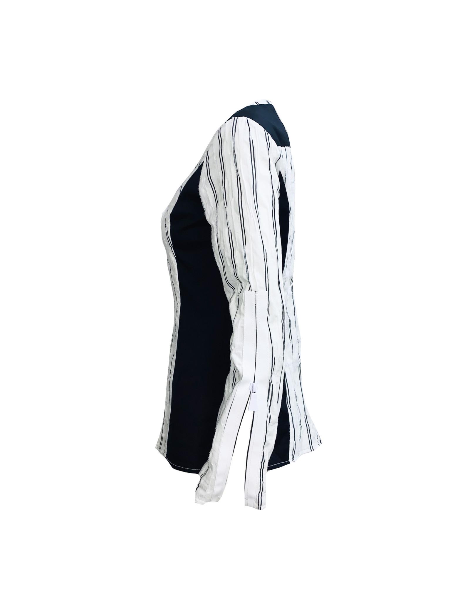 NY77 Design NY77 Zip Stripe Top - White
