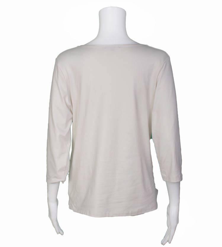 A'nue Ligne A'nue Ligne 3/4 Sleeve V-Neck Boxy Top - Cream