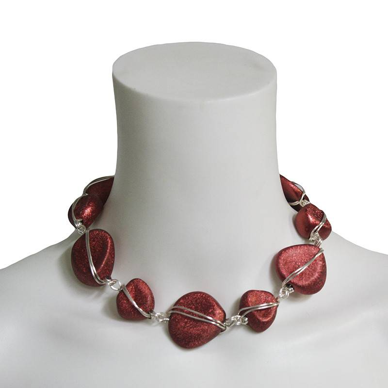 Abra Couture Nugget and Wire Necklace - Red