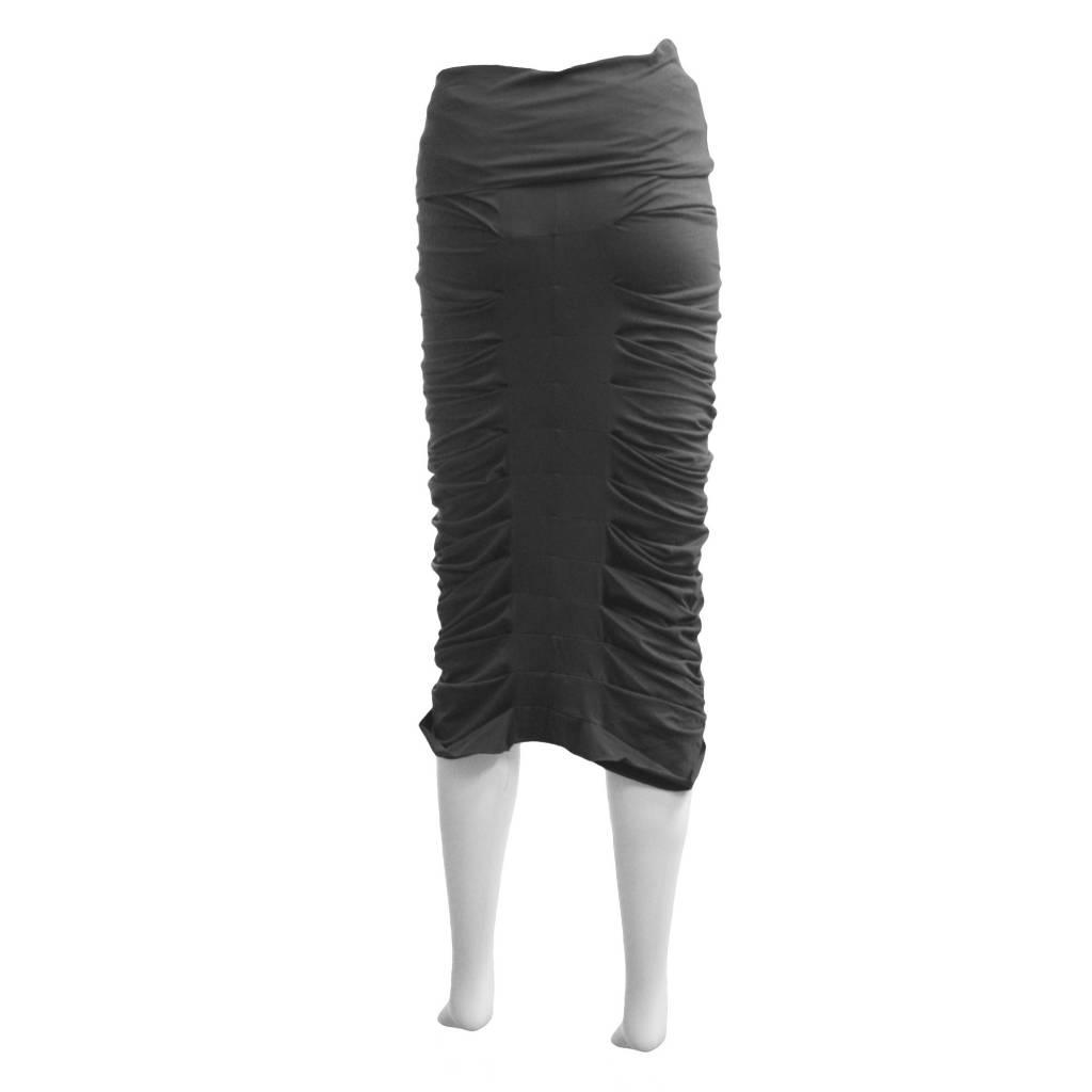 Matthildur Ruched Cotton Skirt - Grey