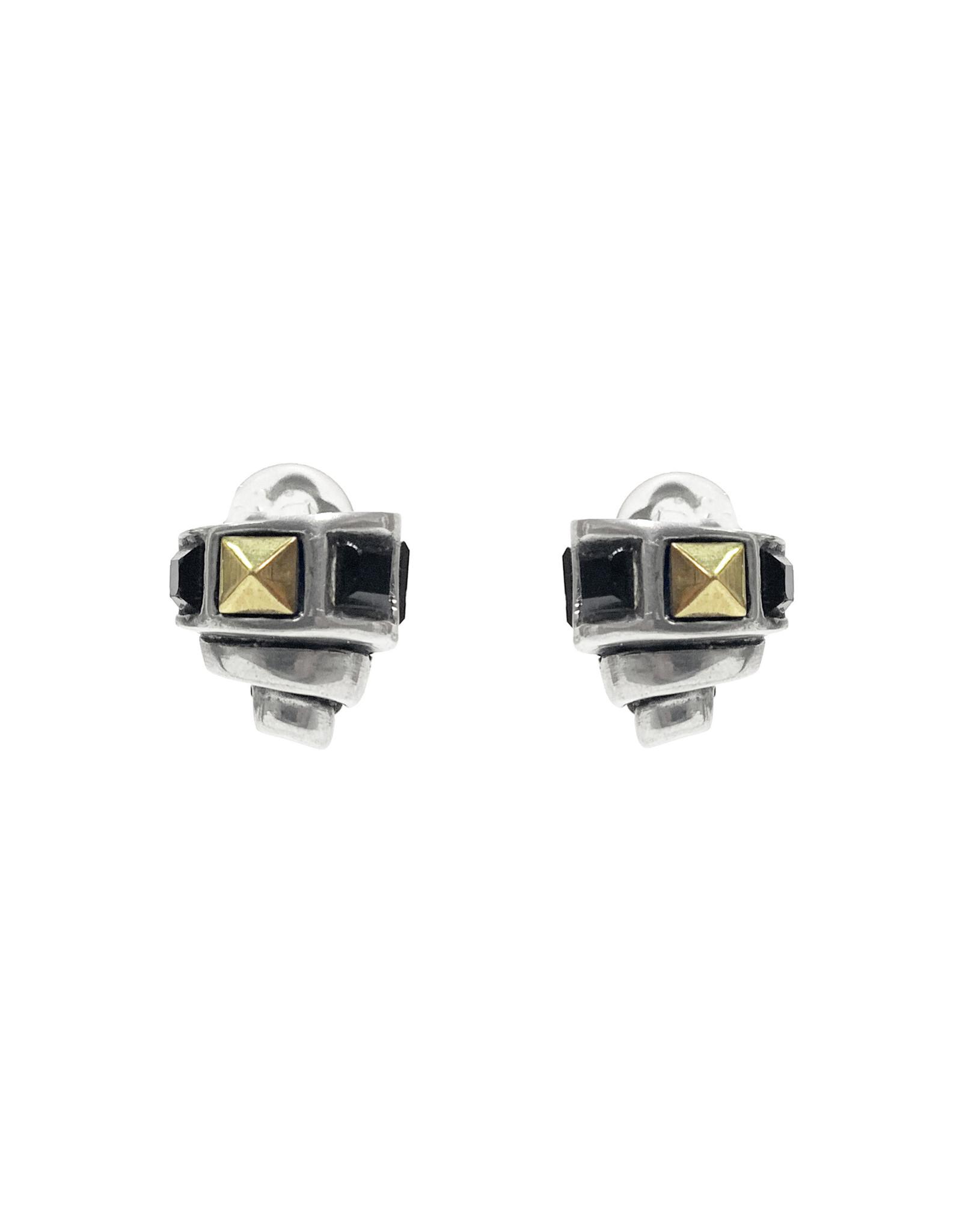 Fahrenheit Fahrenheit Turret Crystal Clip Earrings
