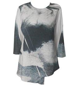 Yoshi Yoshi Yoshi Yoshi Asym Print Tunic - Grey