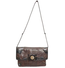 Grace Ann Agostino Grace Ann Agostino Brown Ostrich & Patterned Leather